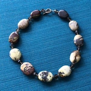 Natural stone, clear bead and silver necklace